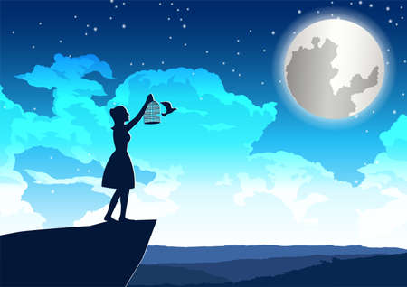 woman let bird out to peace on the cliff in beautiful night,vector illustration