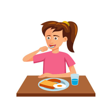 flat design of cartoon character of woman is eating,vector illustration