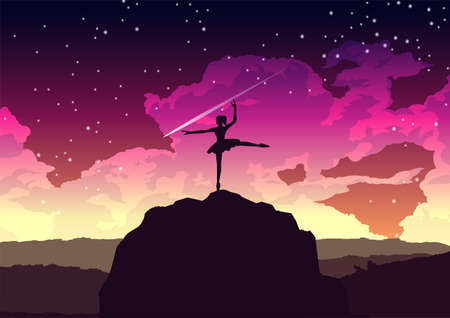girl dancing ballet on the cliff at night,vector illustration