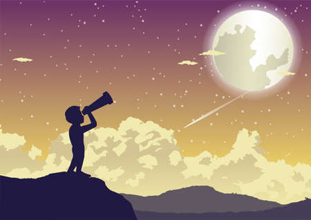 a boy looking to stars in the beautiful night,vector illustration 向量圖像