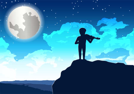 boy playing violin on the cliff in lonely night,vector illustration 向量圖像