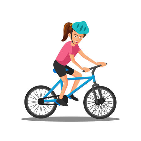 flat design of cartoon character of woman is riding bicycle,vector illustration