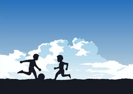 boys enjoy with playing football ,vector illustration