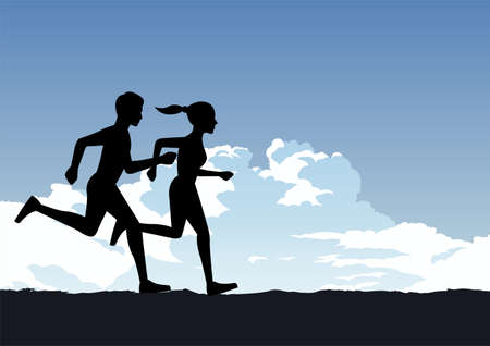couple exercise by running for healthy,vector illustration