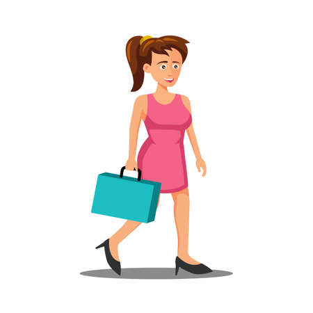 flat design of cartoon character of woman goes to workplace,vector illustration