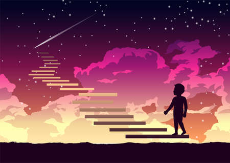 a boy step on the stair way to heaven with interesting,vector illustration