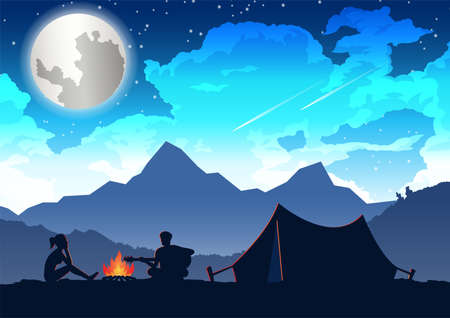 man is playing guitar and woman is listening at their camping trip,vector illustration