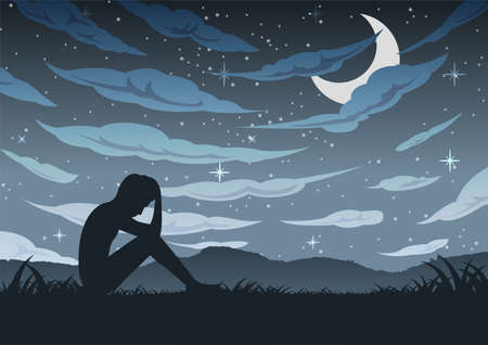 Man sit alone with sad and hopeless around with cloud sky in dark night,vector illustration 向量圖像