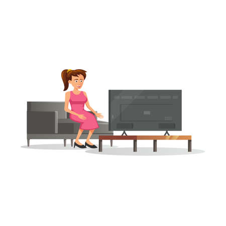 flat design of cartoon character of woman is watching TV,vector illustration