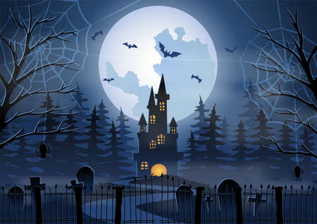 Halloween background with graveyard and Castle scene on Halloween night,vector illustration 向量圖像