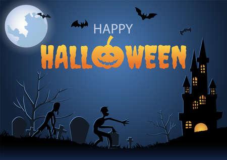 Halloween background with graveyard scene and mummy on Halloween night,vector illustration 向量圖像