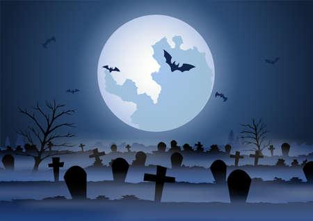 Halloween background with graveyard scene on Halloween night,vector illustration