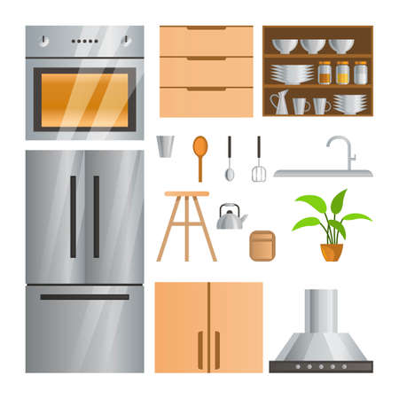 collection of room decoration of kitchen with gradient design,vector illustration