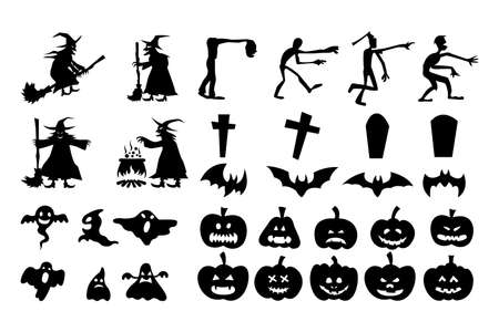 collection of Halloween silhouette design for designer 向量圖像