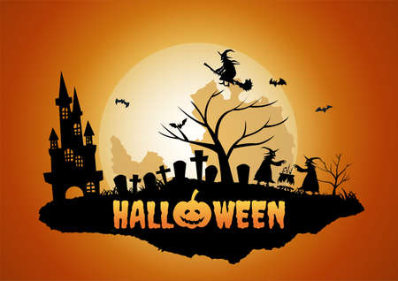 Halloween background with floating island of graveyard and ghost,vector illustration 向量圖像