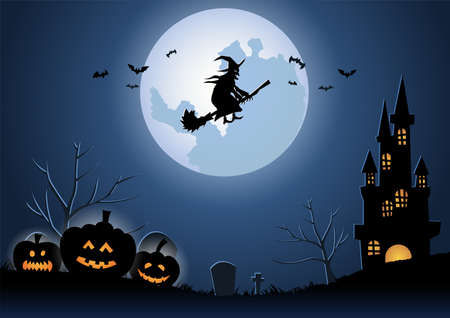 Halloween background with the witch fly by magical broom on midnight,vector illustration