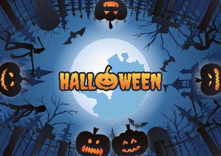 Halloween background with surround of graveyard scene and pumpkins on Halloween night,vector illustration