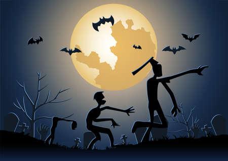 Halloween background with zombie walk in graveyard on midnight,vector illustration