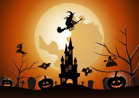 Halloween background with the witch fly with magic broom on Halloween night,vector illustration 向量圖像