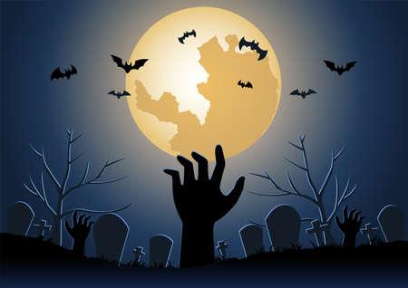 Halloween background with zombie hand raise from underworld on Halloween night,vector illustration 向量圖像