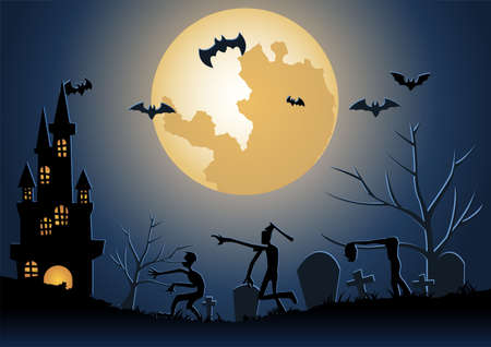 Halloween background with zombie wake from underworld on Halloween night,vector illustration