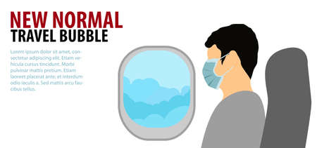 man wears medical mask with flat color design sit on plane with art concept of travel bubble new normal