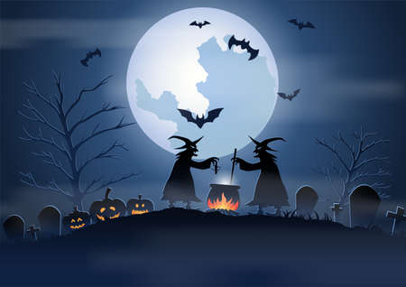 Halloween background with graveyard scene and the witches on Halloween night,vector illustration