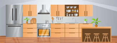 room decoration of kitchen with gradient design,vector illustration