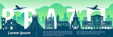 Brazil famous landmark style,big country name inside,vector illustration,flag color design