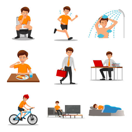 collection of flat design of man characters of routine in cartoon version,vector illustration Иллюстрация