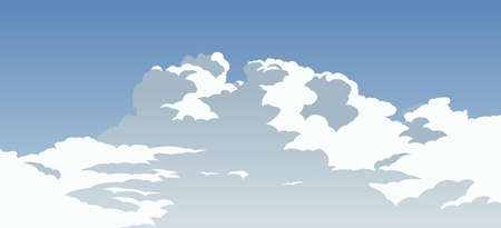 cartoon version of beautiful cloudy blue sky,vector illustratio Иллюстрация