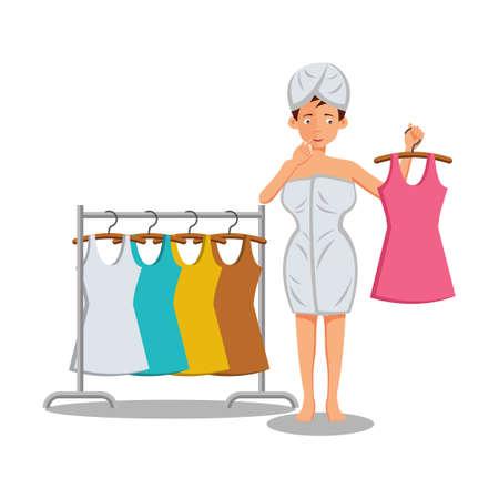flat design of cartoon character of woman getting dress,vector illustration Stock Illustratie