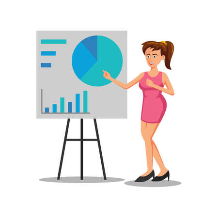 flat design of cartoon character of woman is presenting the presentation,vector illustration