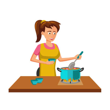 flat design of cartoon character of woman cooking,vector illustration Иллюстрация