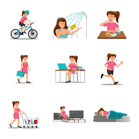 collection of flat design of cartoon woman characters of routine in cartoon version,vector illustration