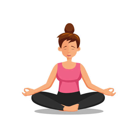 flat design of cartoon character of woman doing yoga ,vector illustration
