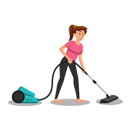 flat design of cartoon character of woman vacuuming,vector illustration