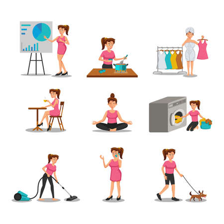 collection of flat design of cartoon woman characters in cartoon version,vector illustration