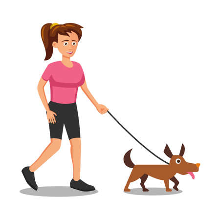 flat design of cartoon character of woman walking the dog,vector illustration
