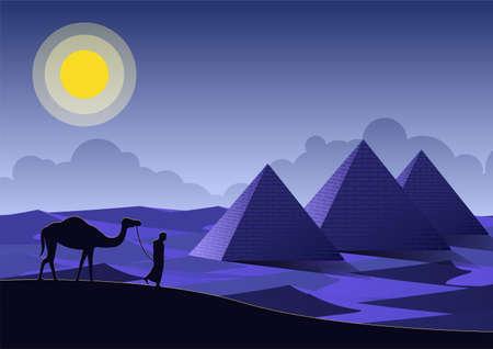 Man and camel walking pass Pyramids landmark of Egypt,vector illustration Иллюстрация