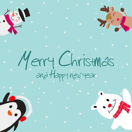 Snowman reindeer penguin and polar bear are happy emotion in Christmas invitation card design,vector illustration Иллюстрация