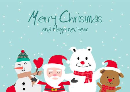 Santa snowman polar bear and puppy, festival of happiness of everybody,vector illustration