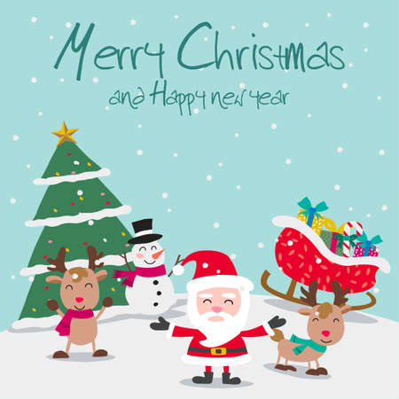 Santa reindeers and snowman enjoy with Christmas night, festival of happiness of everybody,vector illustration