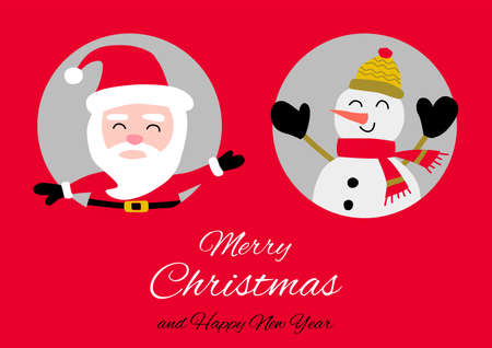 Snowman and santa Claus are in circle hole with happiness with Christmas invitation card design,vector illustration Иллюстрация