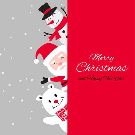 Snowman polar bear and santa cluas are happy emotion with Christmas invitation card design,vector illustration
