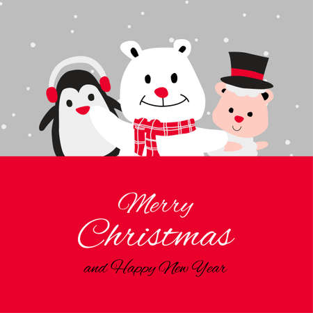 penguin polar bear and puppy are happy emotion with Christmas invitation card design,vector illustration
