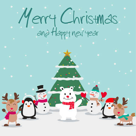 animals and snowman enjoy with Christmas night, festival of happiness of everybody,vector illustration Иллюстрация