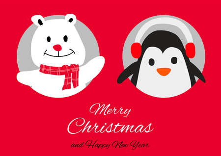 polar bear and penguin are in circle hole with happiness with Christmas invitation card design,vector illustration