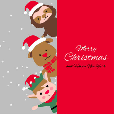 elf puppy sloth are happy emotion with Christmas invitation card design,vector illustration