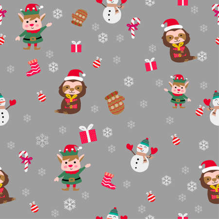 cute of merry christmas and happy new year seamless pattern with flat color design,vector illustration Иллюстрация
